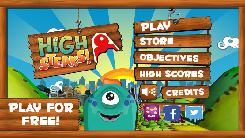 Title Screen for High Steaks Android OS game