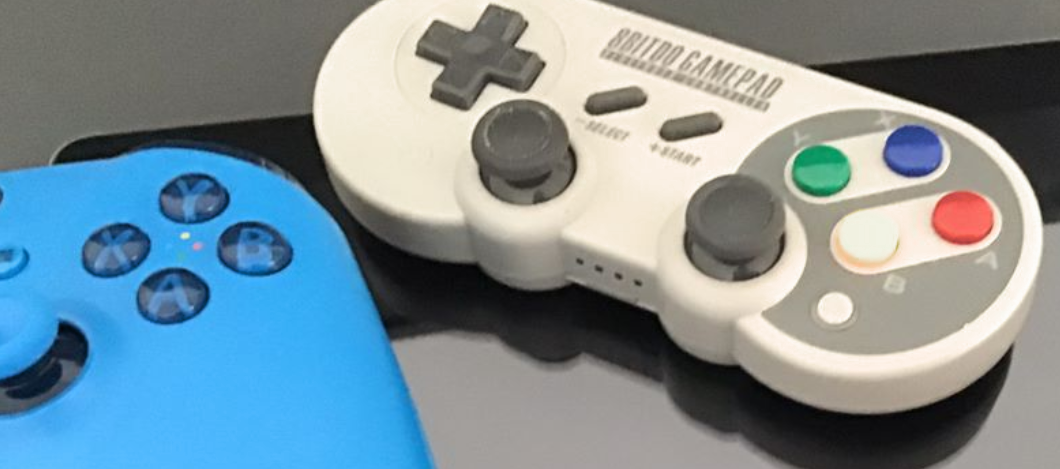 Close up view of videogame console input devices